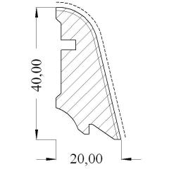 Hoco 554 UM Ořech americký, 40x20mm, dýha, bez povrchové úpravy